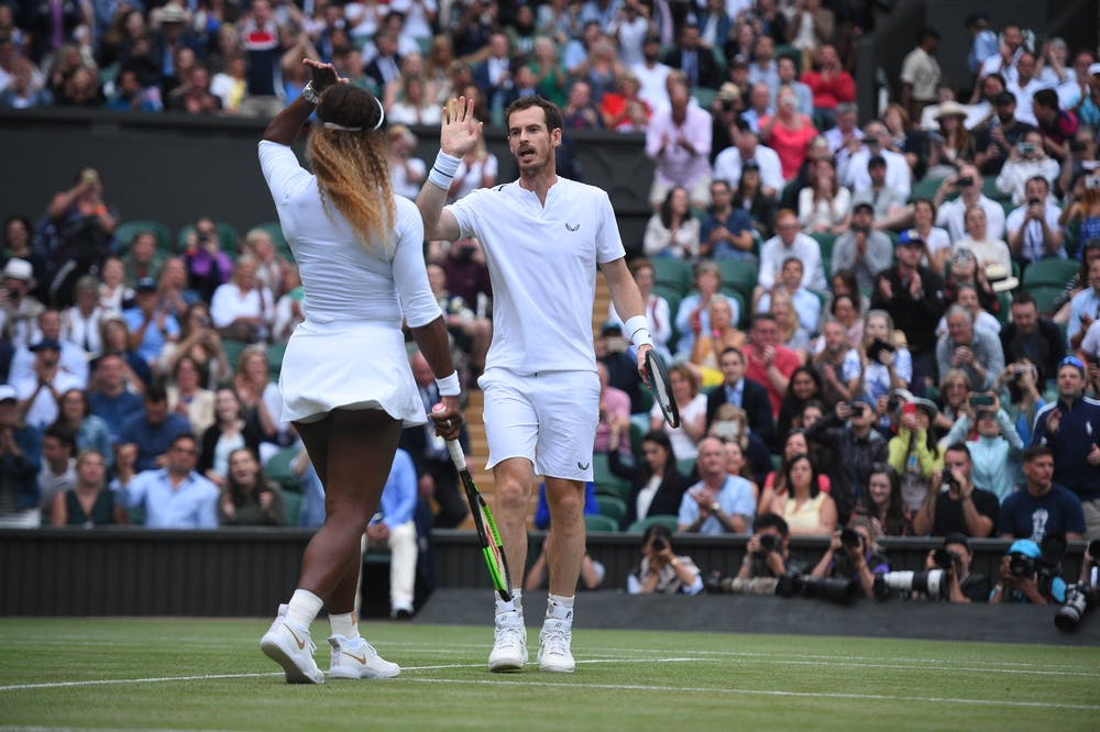 Andy Murray playing doubles with Serena Williams during Wimbledon 2019