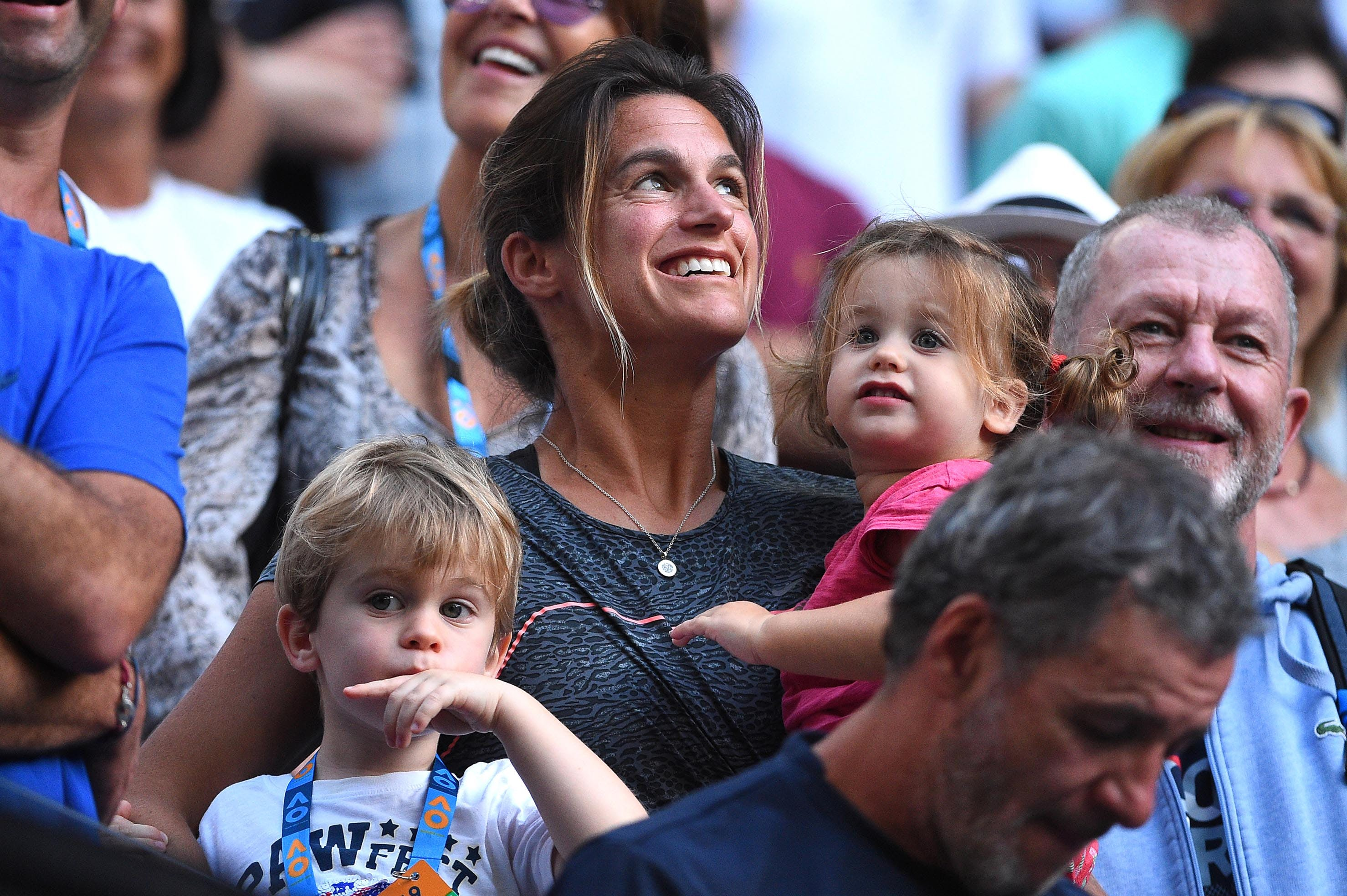 Amelie Mauresmo and his children at the 2019 Australian Open