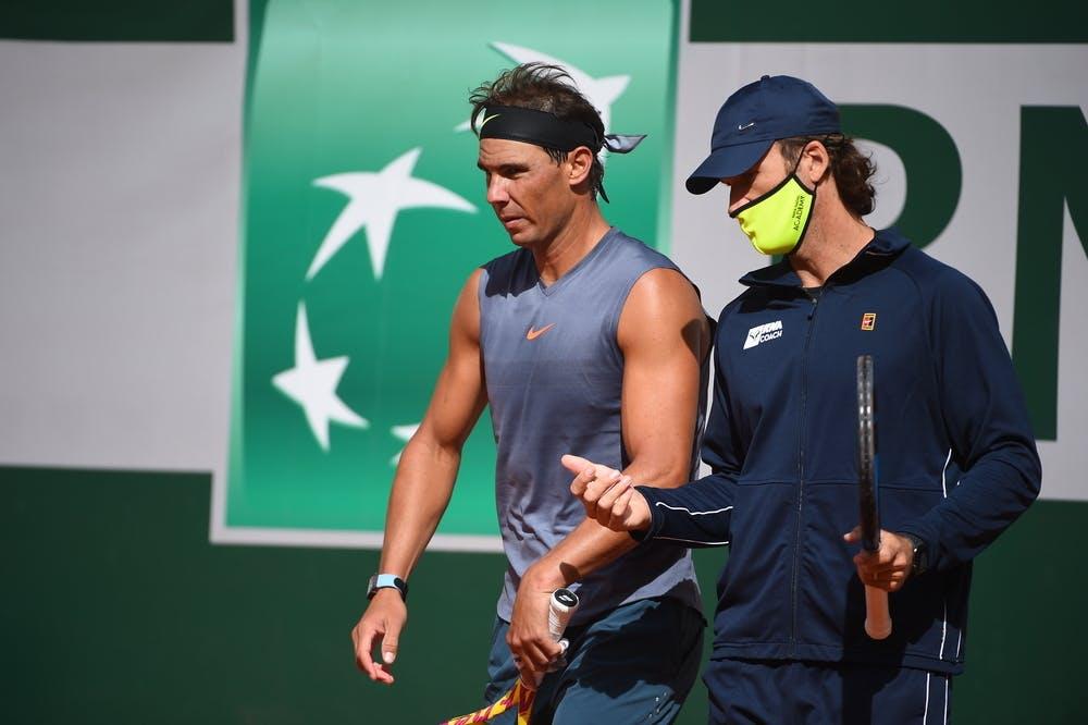 Rafael Nadal et Carlos Moya, Roland-Garros 2020, entraînement