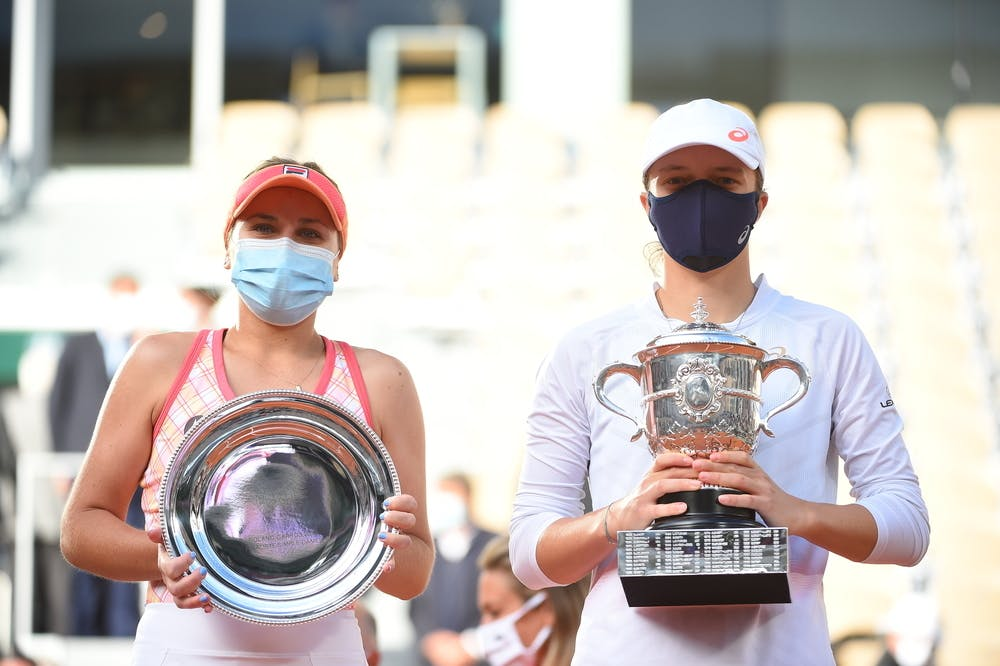 Sofia Kenin and Iga Swiatek posing with their trophies after the 2020 Roland-Garros final