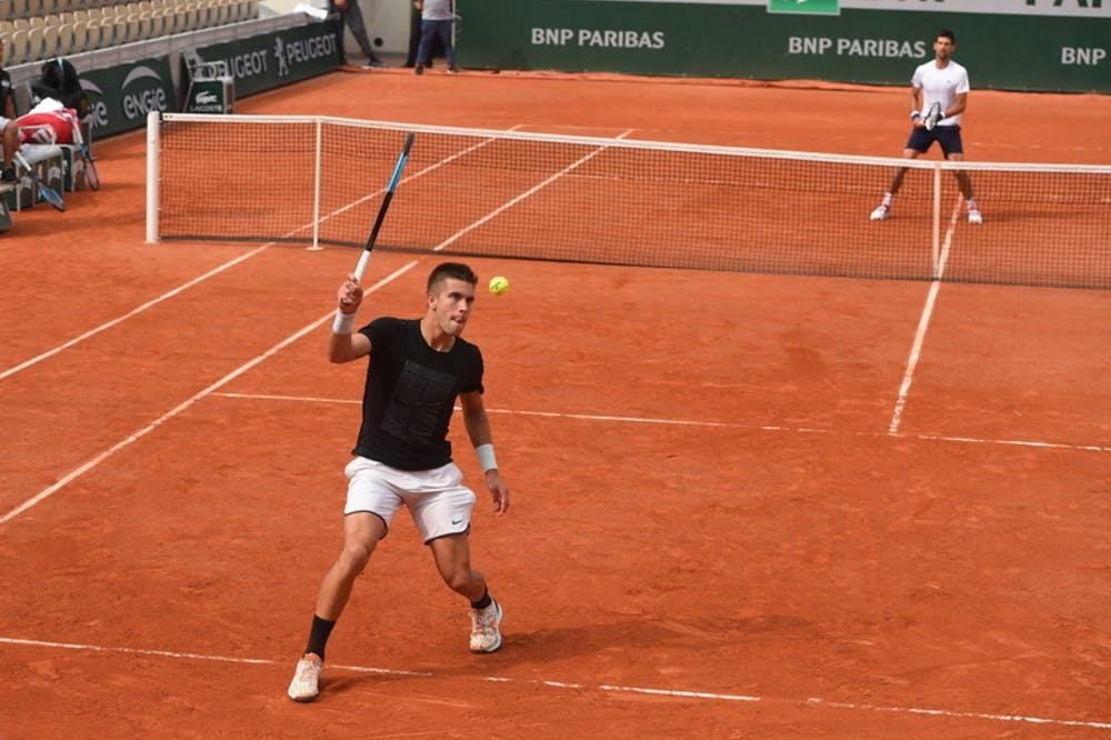 Roland-Garros 2018, Borna Coric, Novak Djokovic, entraînement, practice