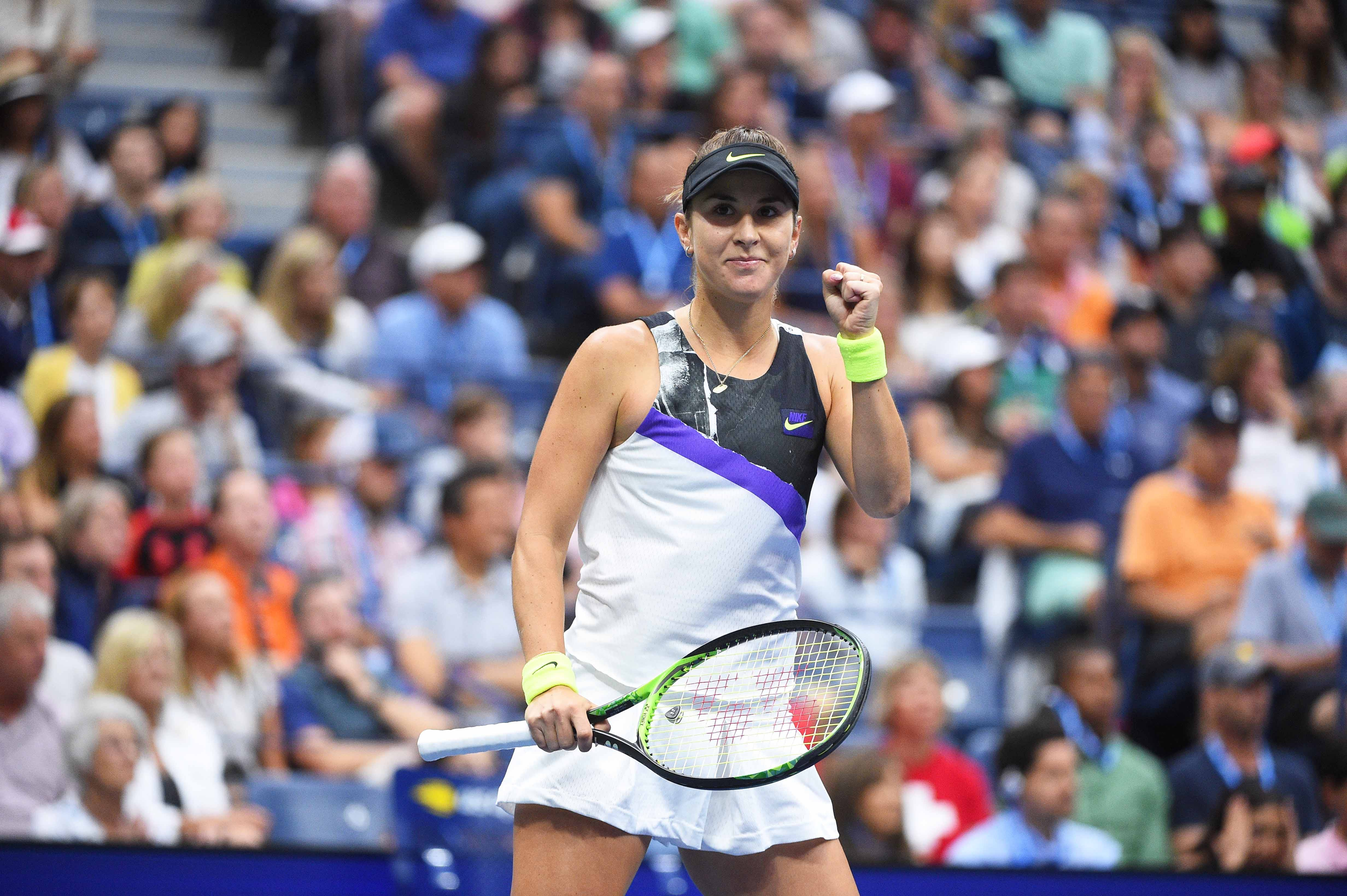 Belinda Bencic fist pumping after her fourth round match at the 2019 US Open