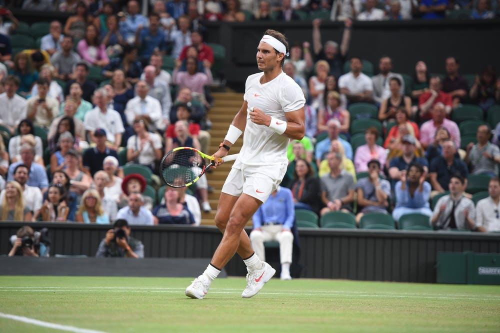 Rafael Nadal fist pumping at Wimbledon 2018