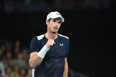 Andy Murray fist pumping after a victory.