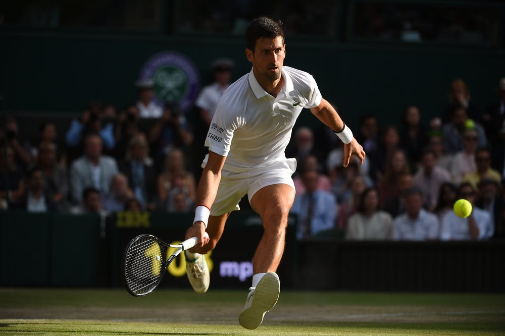 Novak Djokovic going for a dropshot during the Wimbledon 2019 final