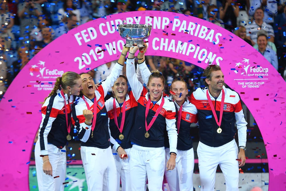 French team posing with the Fed Cup trophy in Perth