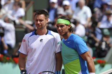 Robin Soderling (L) and Rafael Nadal prior to their 2010 Roland-Garros final.