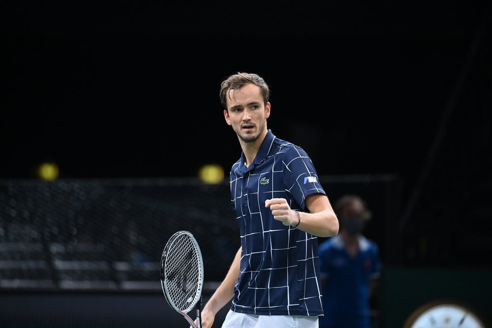 Daniil Medvedev fist pumping during the final of the Rolex Paris Masters 2020