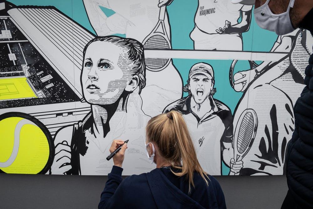 Art Live Crocodile, Fresque, Roland-Garros, Lacoste,  Jil Teichmann