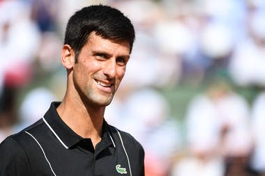 Novak Djokovic lors de son huitièmes de finale, Roland-Garros 2018
