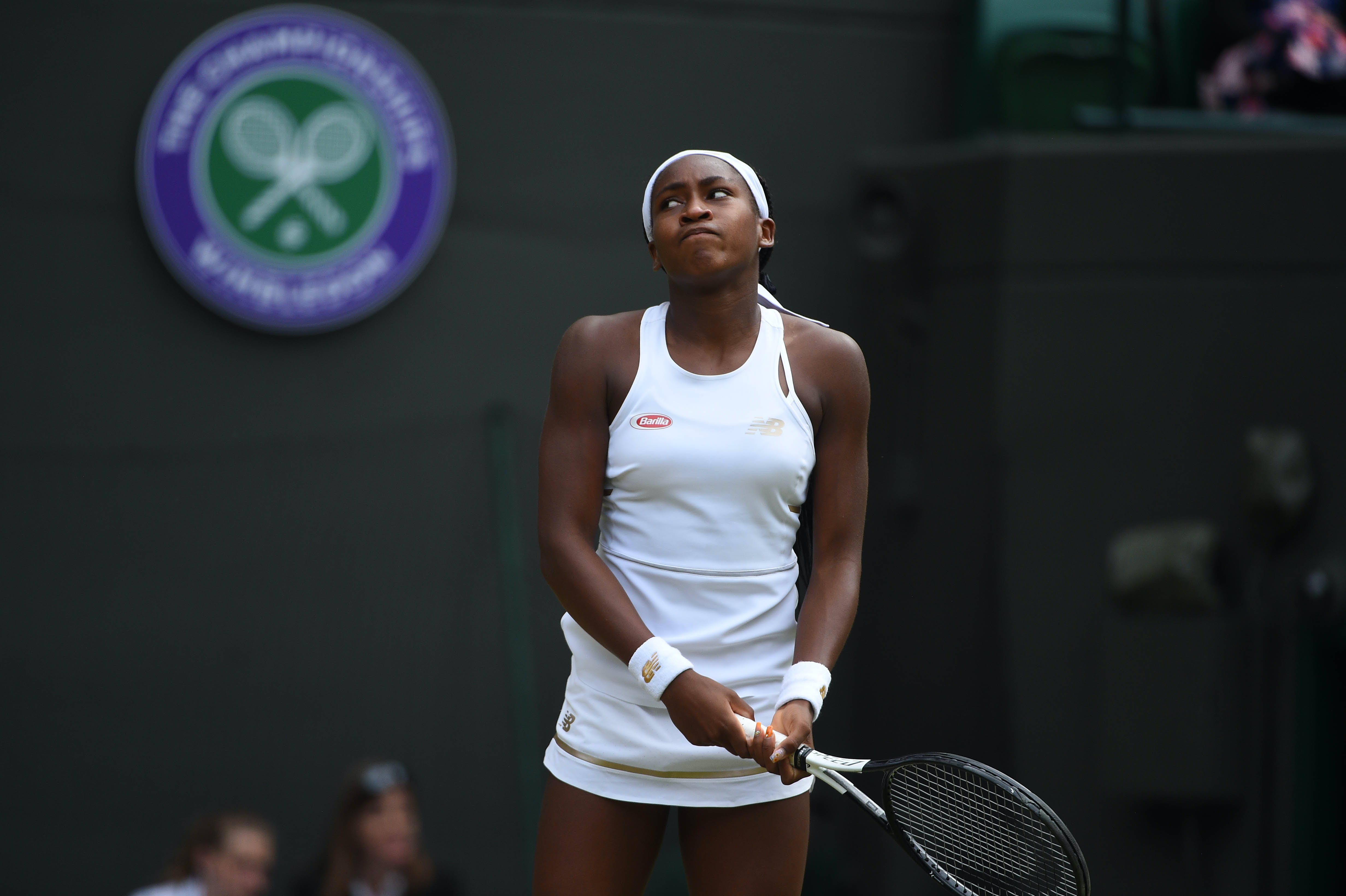 Coco Gauff disappointed during her match against Simona Halep at Wimbledon 2019