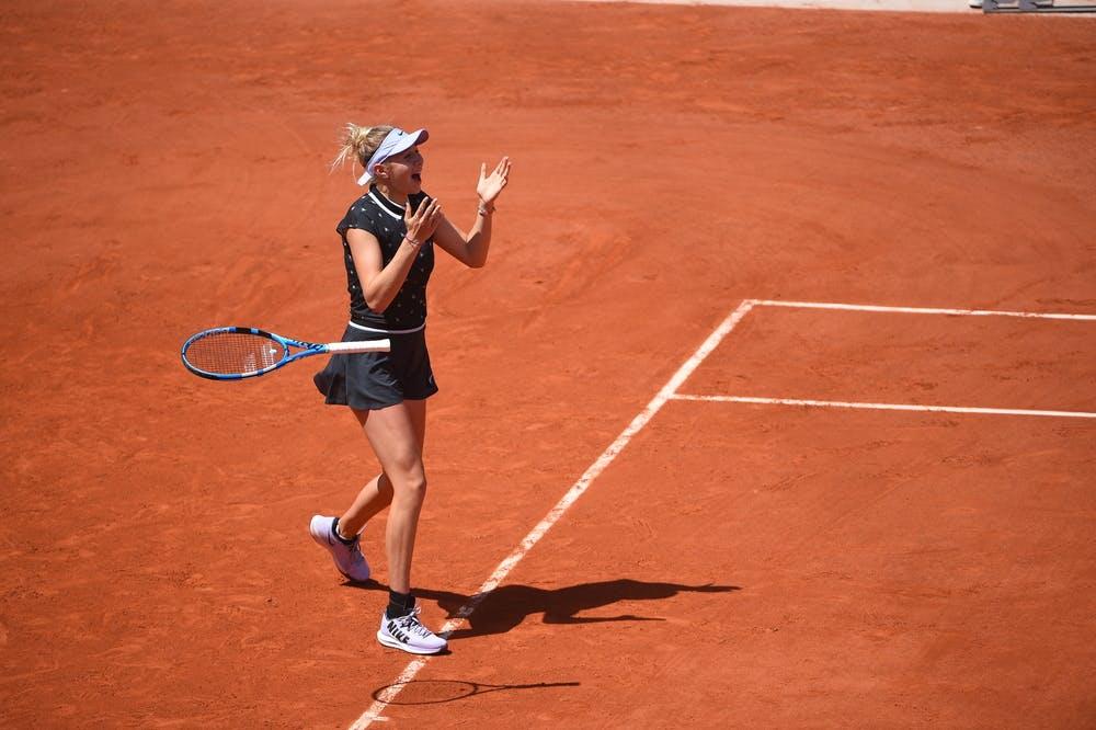 Amanda Anisimova celebrates. Roland Garros 2019 quarter-finals.