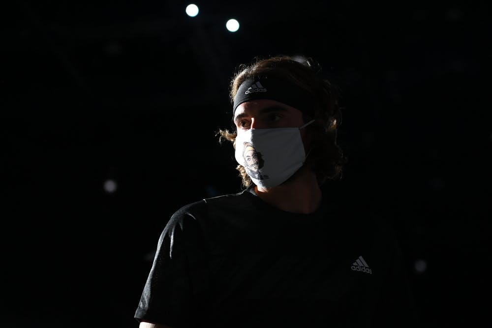 Stefanos Tsitsipas and his mask during Rolex Paris Masters 2020