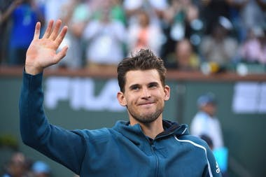 Dominic Thiem wawing after his win in Indian Wells 2019
