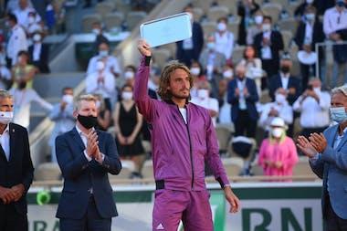 Stefanos Tsitsipas, Roland Garros 2021, trophy ceremony