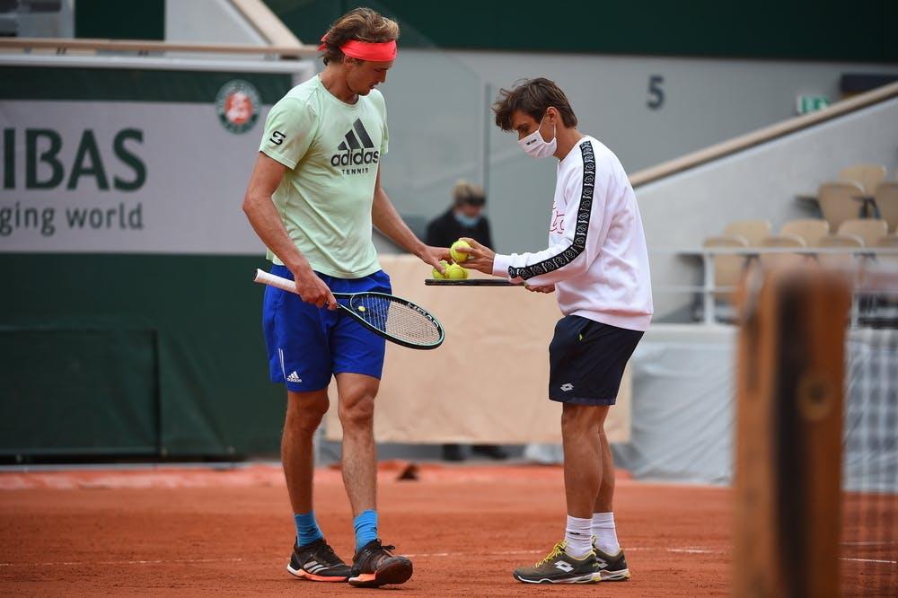 Alexander Zverev, coach David Ferrer, Roland Garros 2020, practice