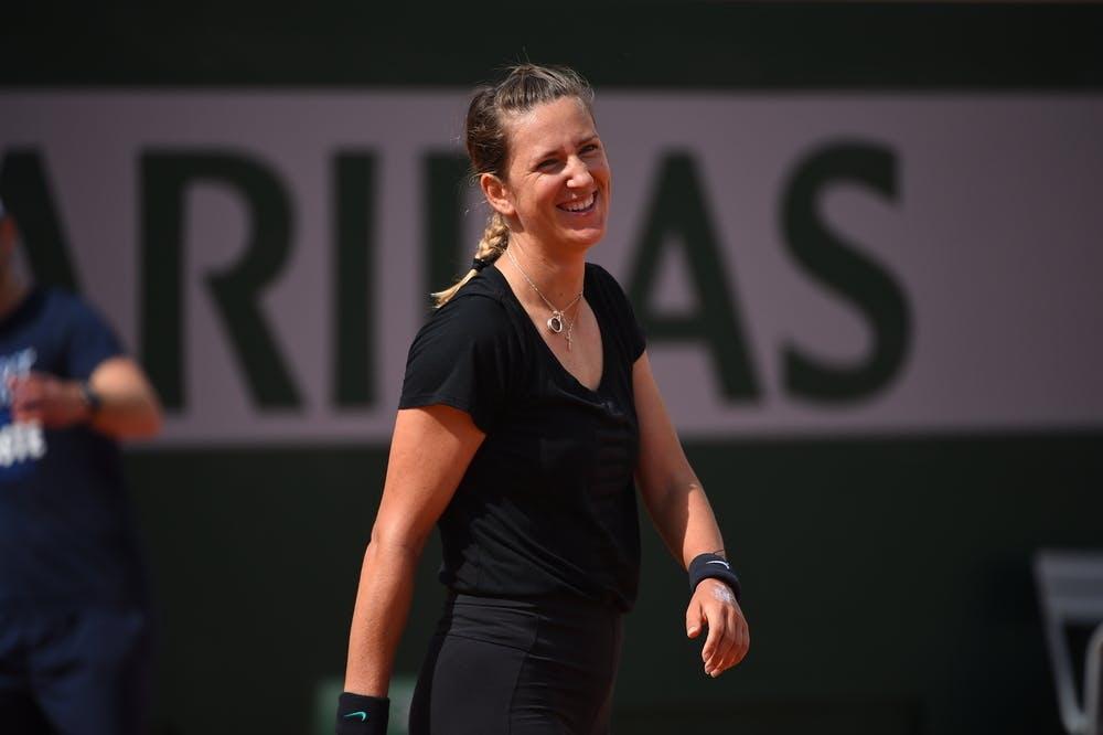 Victoria Azarenka smiling at Roland-Garros 2019