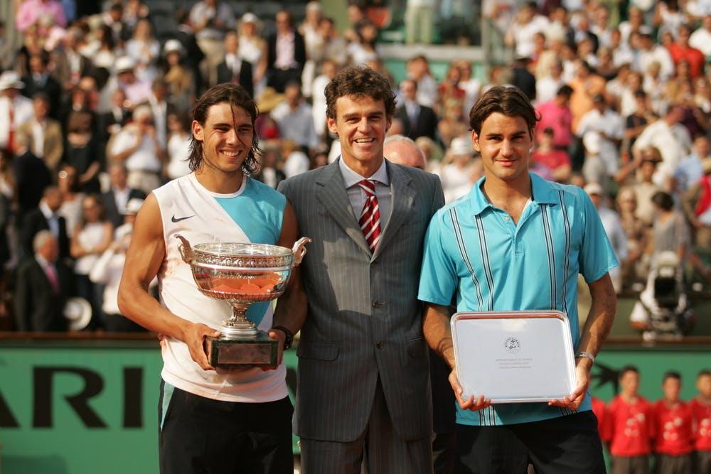 Rafael Nadal, Gustavo Kuerten and Roger Federer at Roland-Garros 2007