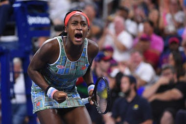 Coco Gauff screaming at the 2019 US Open