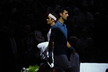 Roger Federer and Novak Djokovic at 2018 the Rolex Paris Masters