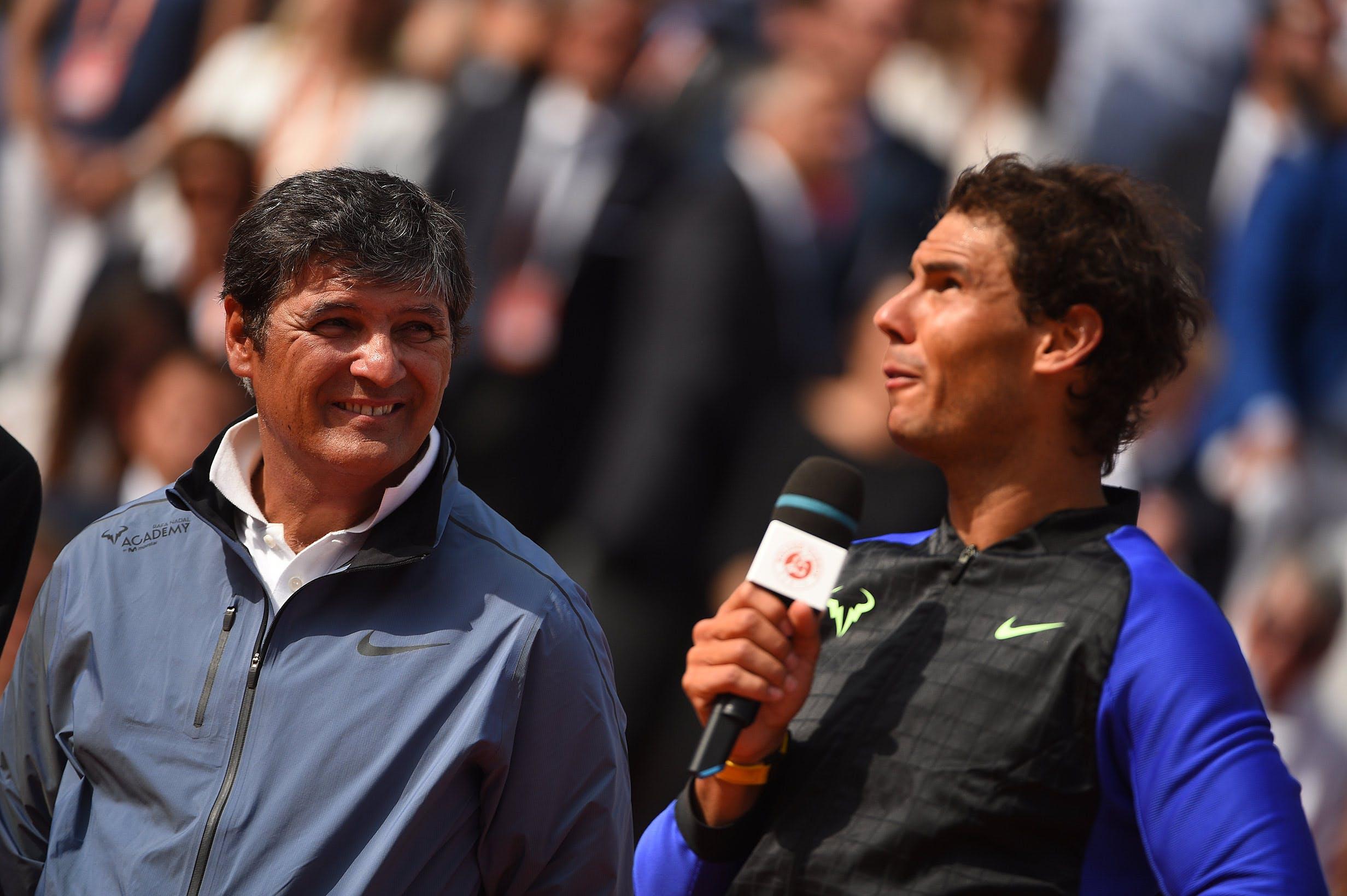 Rafael et Toni Nadal à la remise des prix de Roland-Garros 2017./ Rafael and Toni Nadal at the trophy ceremony Roland-Garros 2017