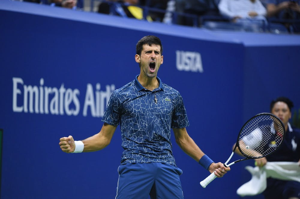 Novak Djokovic expresses rage and joy at the 2018 US Open.