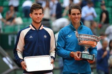 Dominic Thiem et Rafael Nadal trophy Roland-Garros 2018