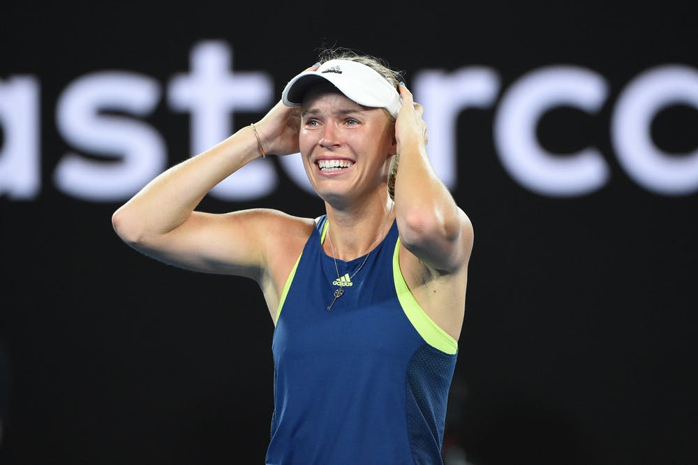 Caroline Wozniacky crying out of joy after winning her first Grand Slam title at the 2018 Australian Open.