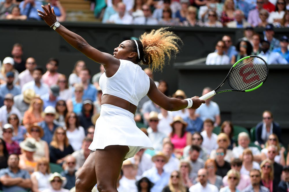 Serena Williams powers a forehand at Wimbledon 2019