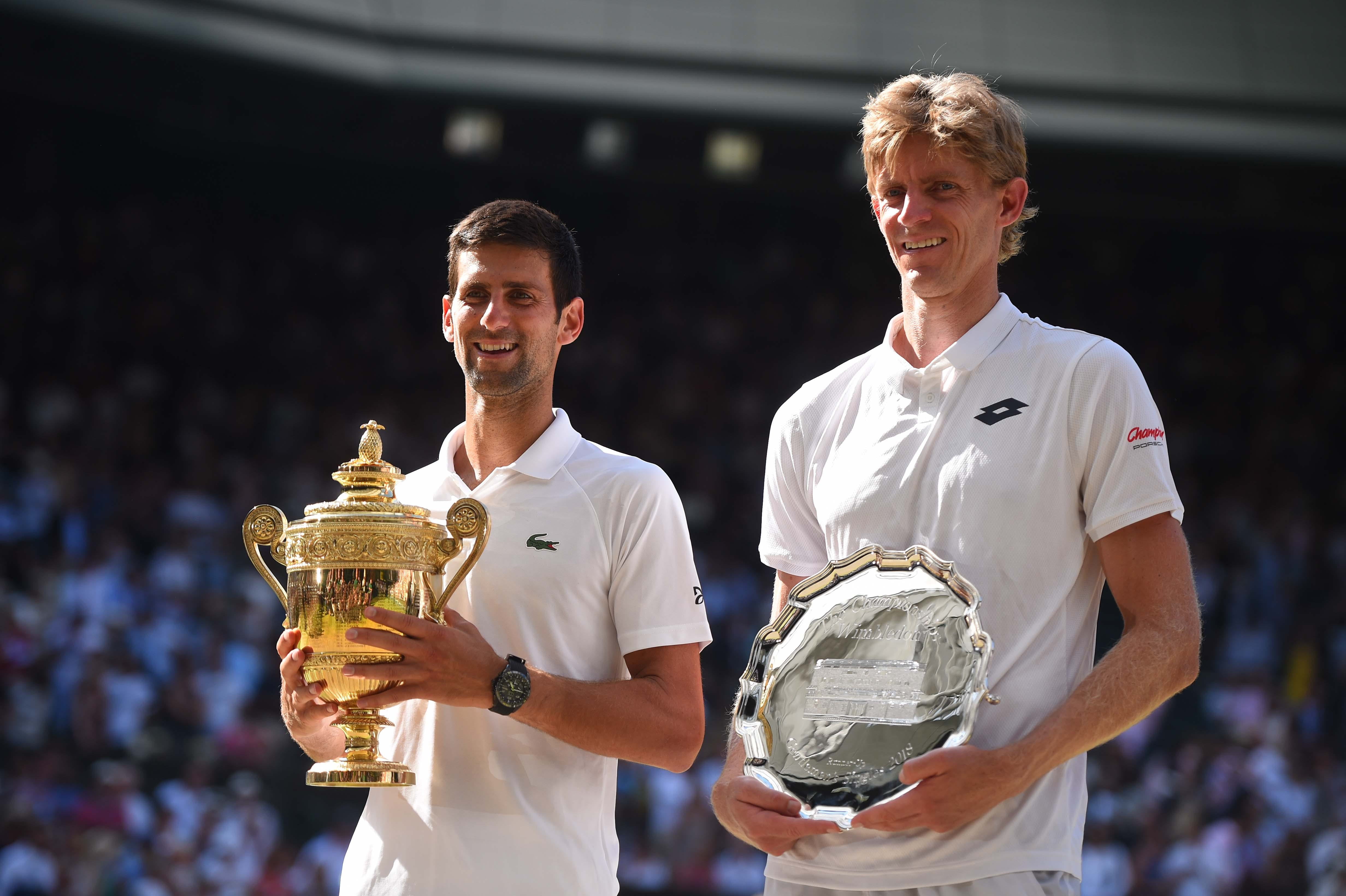 Novak Djokovic and Kevin Anderson trophy ceremony Wimbledon 2018
