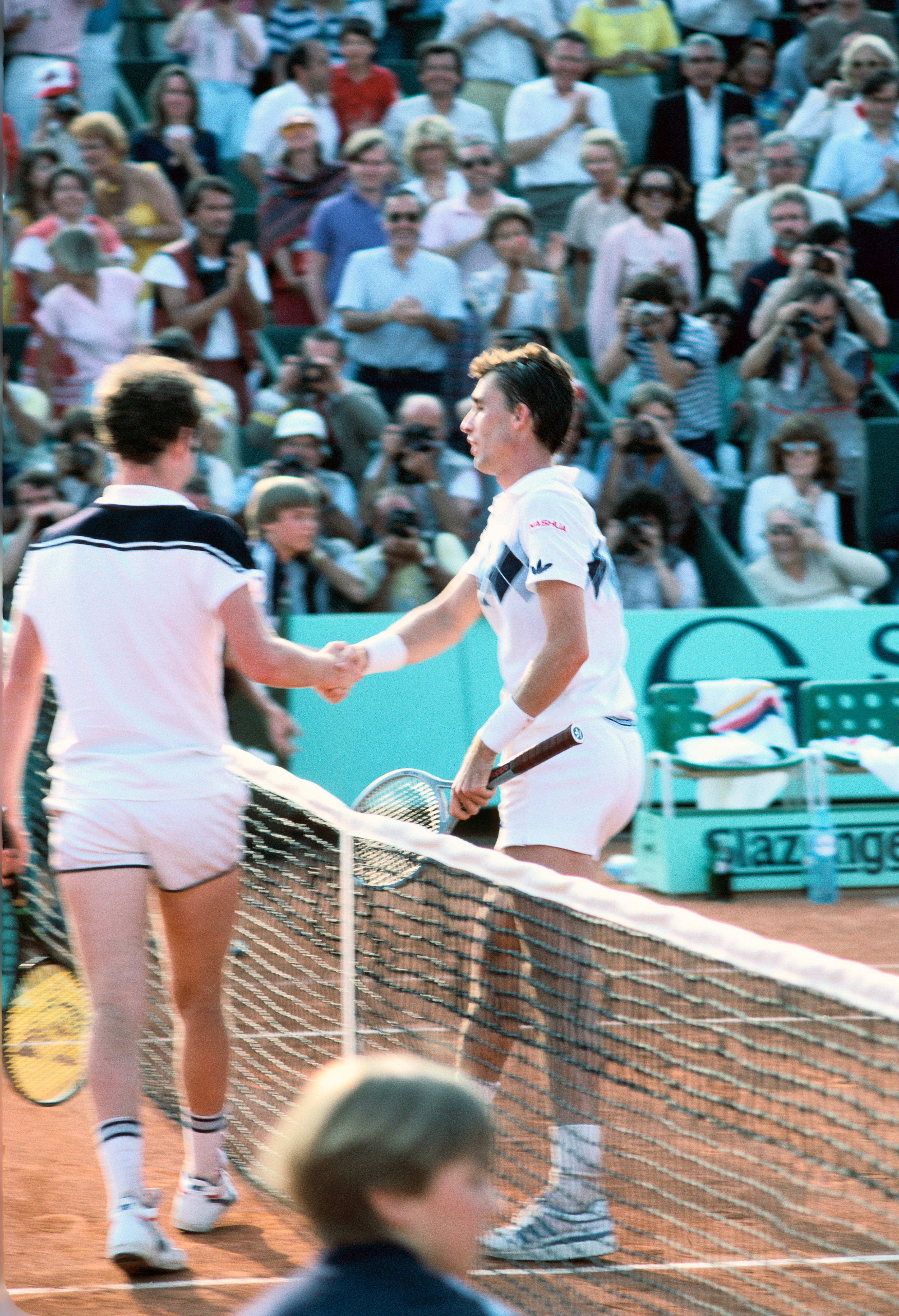 Lendl and McEnroe at the end of their legendary final at Roland-Garros 1984