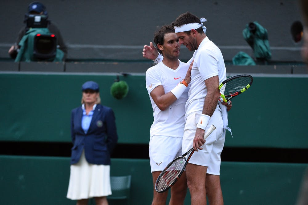 Rafael Nadal and Juan Martin Del Potro at the end of their epic quartefinal match in Wimbledon 2018.