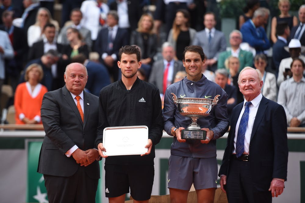 Nadal Thiem Laver Giudicelli trophy Roland Garros 2019