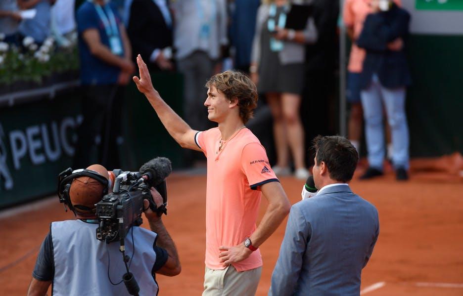 Alexander Zverev wins first round match at Roland-Garros 2018.