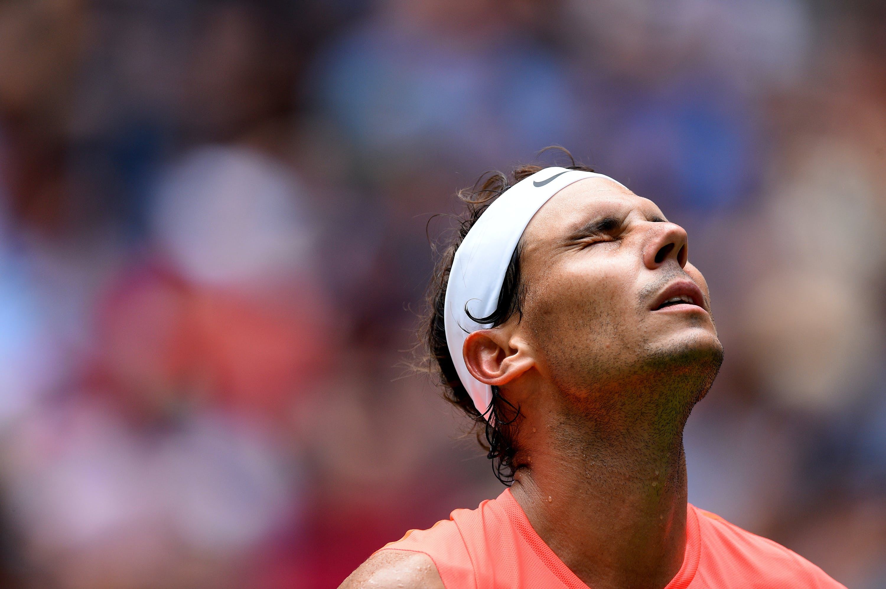 Rafael Nadal closes his eyes during the 2018 US Open