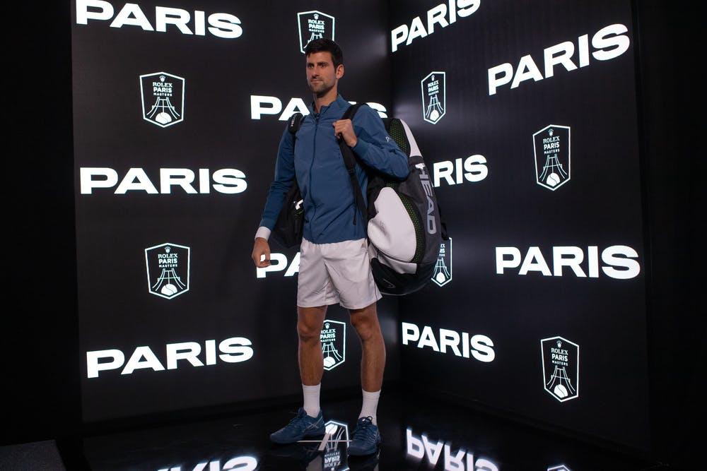 Novak Djokovic in the tunnel of the Rolex Paris Masters 2018