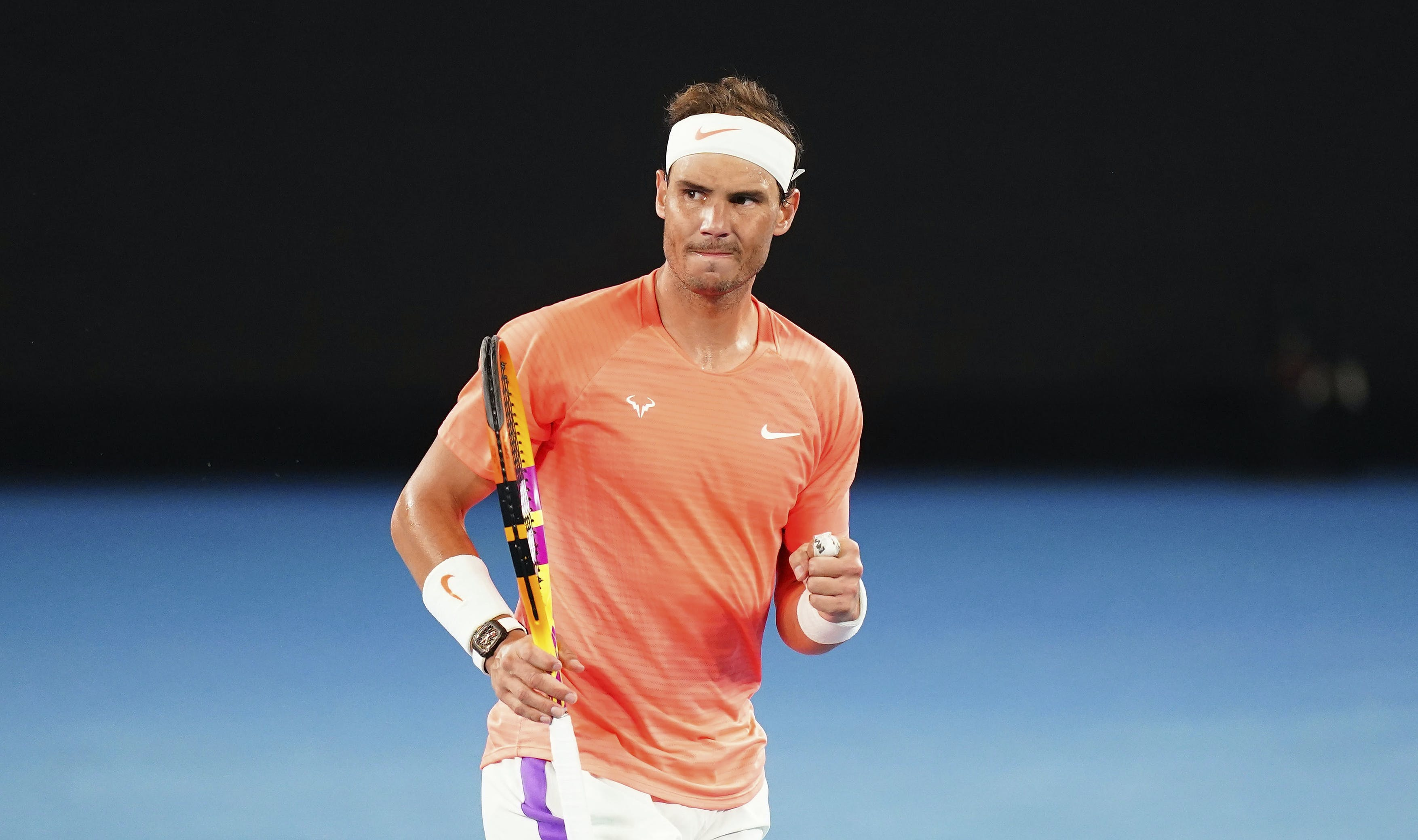 Rafael Nadal after winning his match against Cameron Norrie at the Australian Open 2021