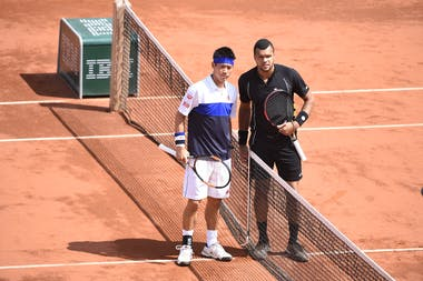 Tsonga - Nishikori during quarter-final at Roland-Garros 2015