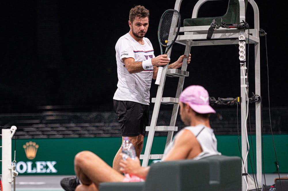 Stan Wawrinka looking at Rafael Nadal during a practice together at the Rolex Paris Masters 2020