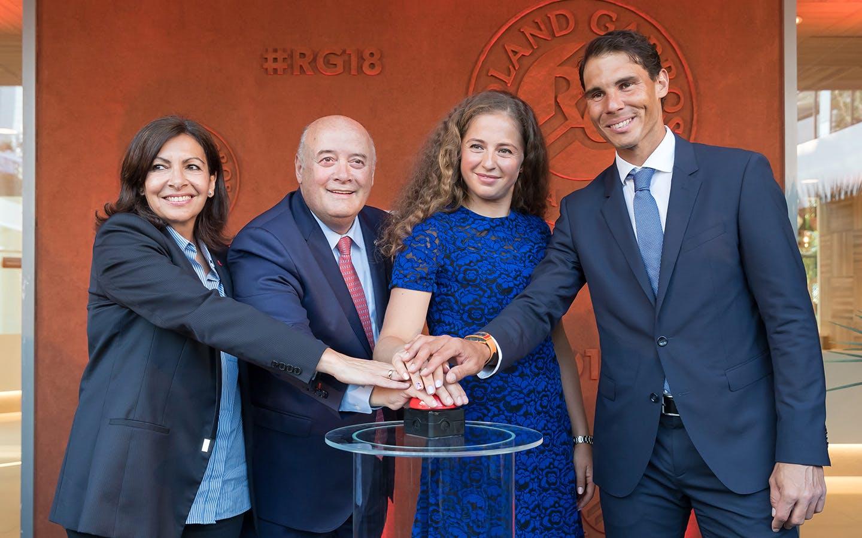 Première pierre inauguration Village de Roland-Garros NRG / Anne Hidalgo Bernard Giudicellu Rafael Nadal Jelena Ostapenko Roland-Garros 2018