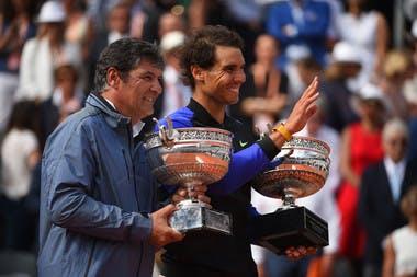 Toni Nadal et Rafael Nadal à Roland-Garros 2017.