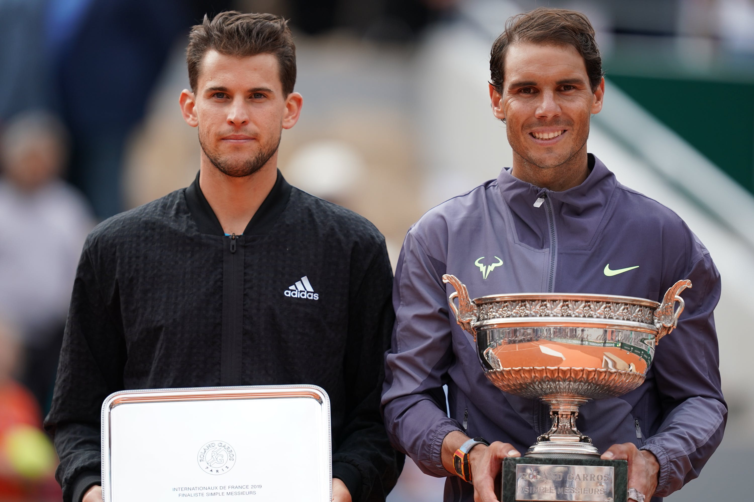 Dominic Thiem & Rafael Nadal during the trophy ceremony at Roland-Garros 2019
