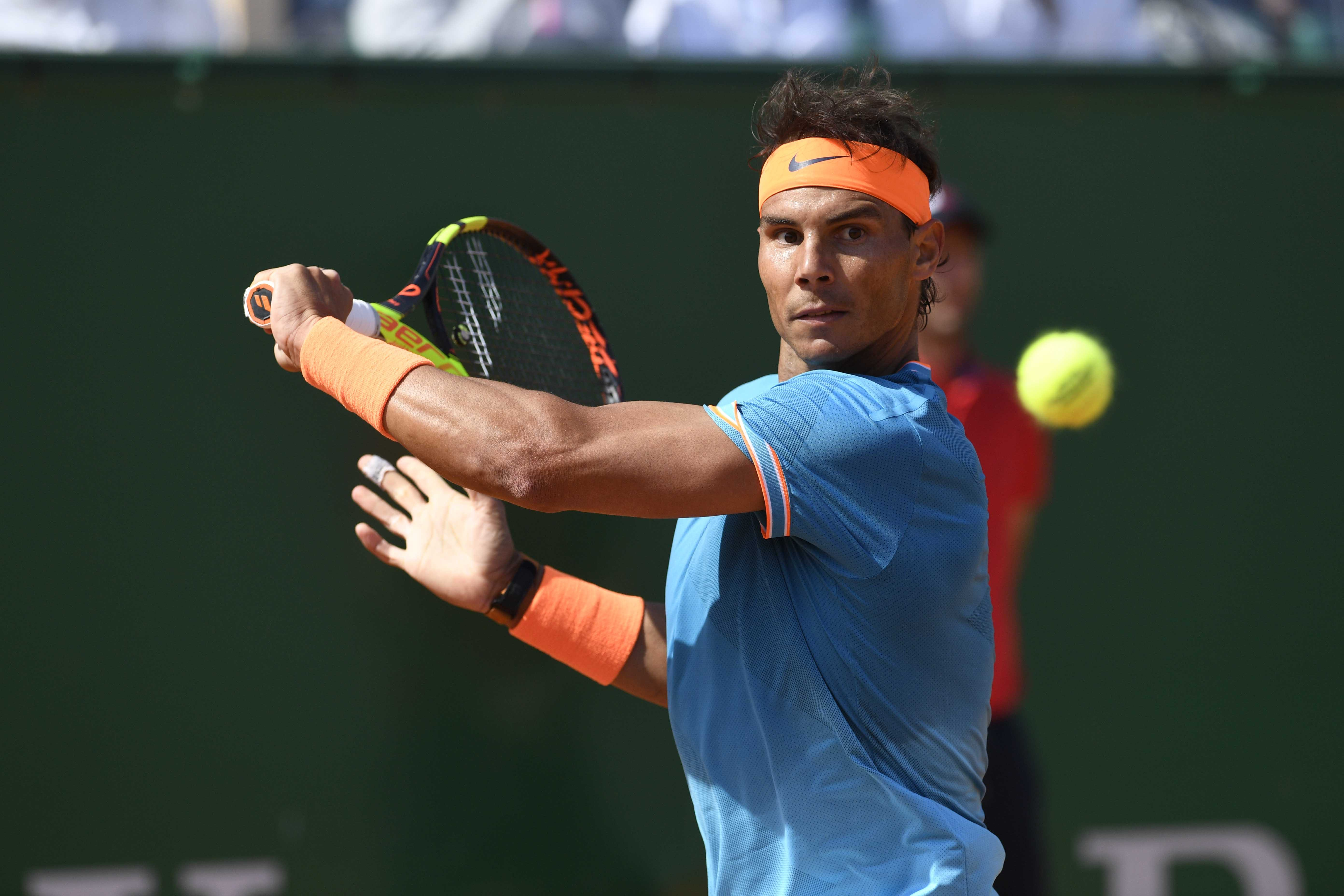 Rafael  Nadal looking at the ball during Roles Monte-Carlo Masters 2019