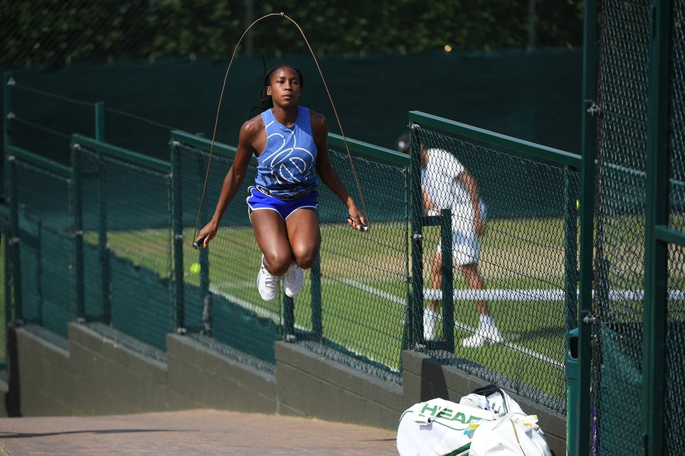Coco Gauff jumping rope during 2019 Wimbledon
