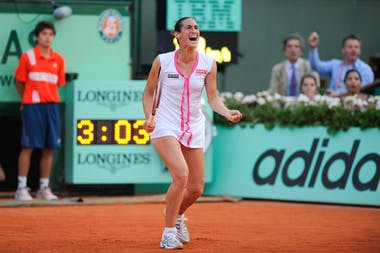 Virginie Razzano after the match point against Serena Williams at Roland-Garros 2012