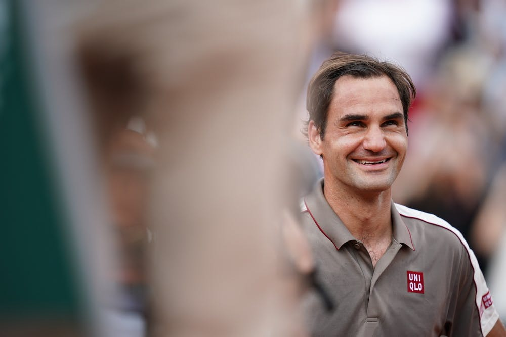 Smiling Roger Federer during 2019 Roland-Garros