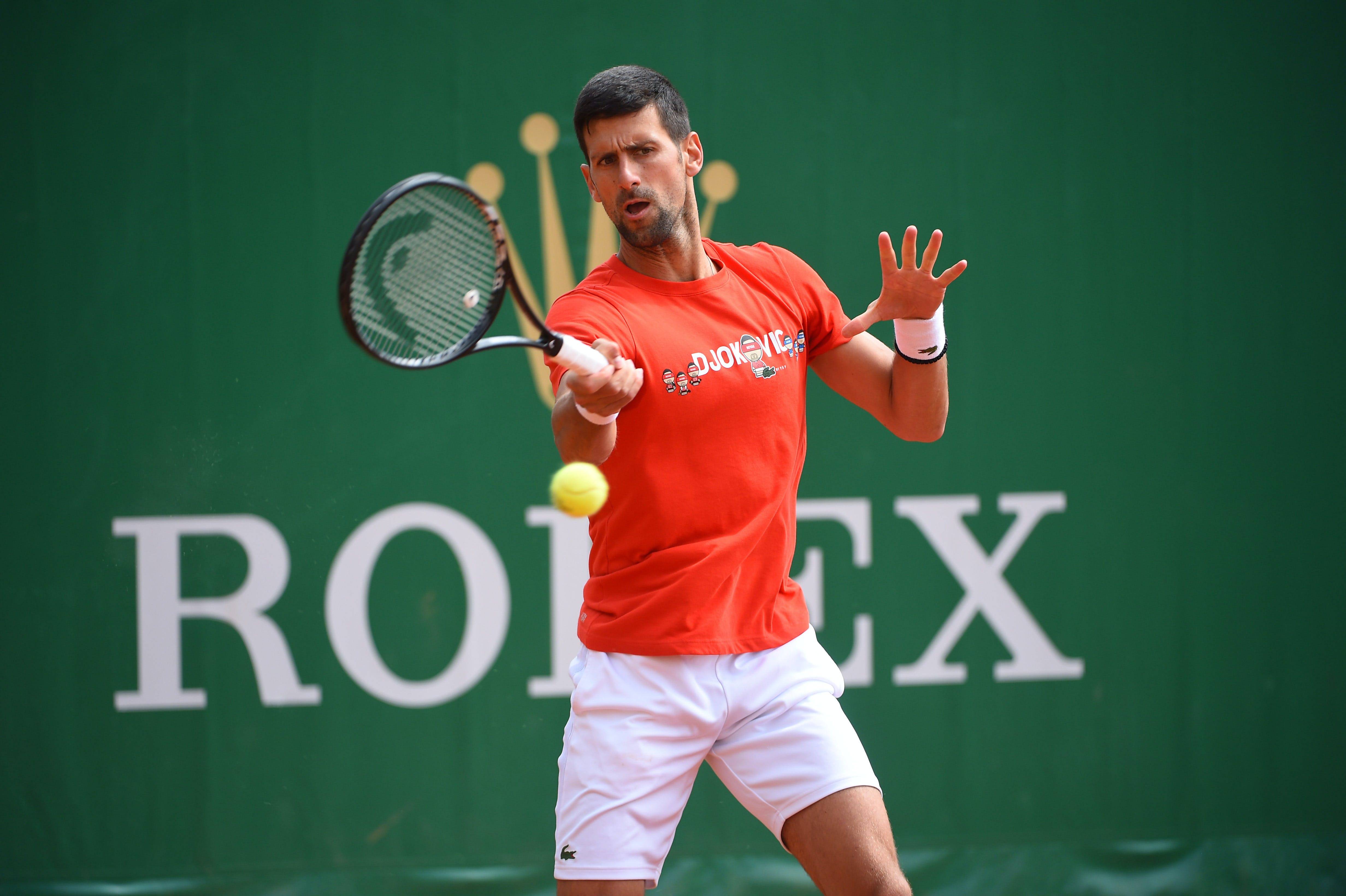 Novak Djokovic at practice during Rolex Monte-Carlo Masters 2021