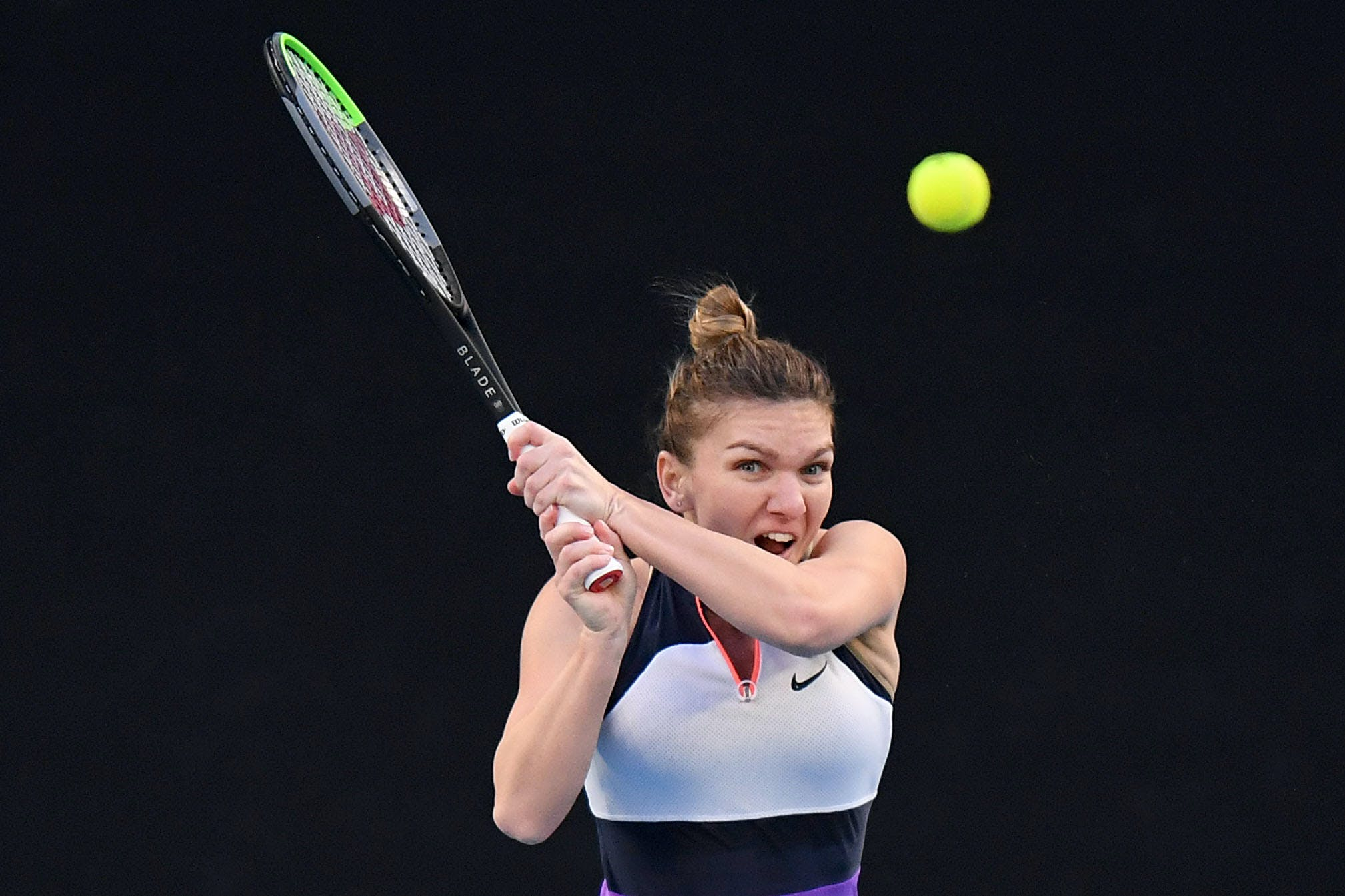 Simona Halep during her match against Iga Swiatek Melbourne 2021