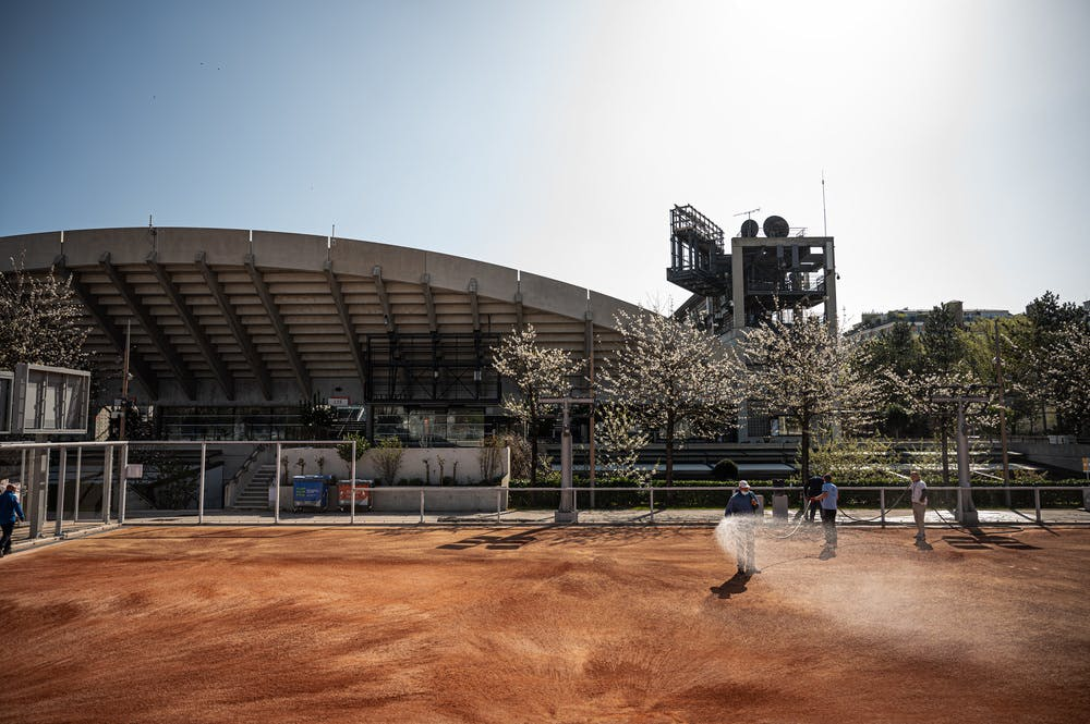 Outsides court of Roland-Garros being prepared for the 2021 edition