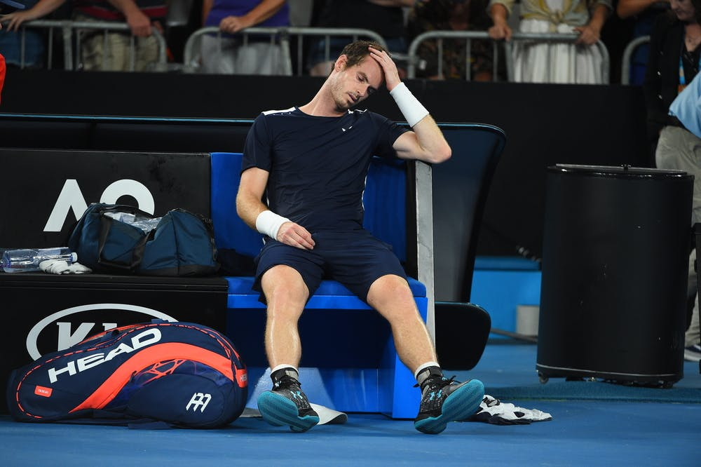 Andy Murray sitting on his bench after his last match at the 2019 Australian Open